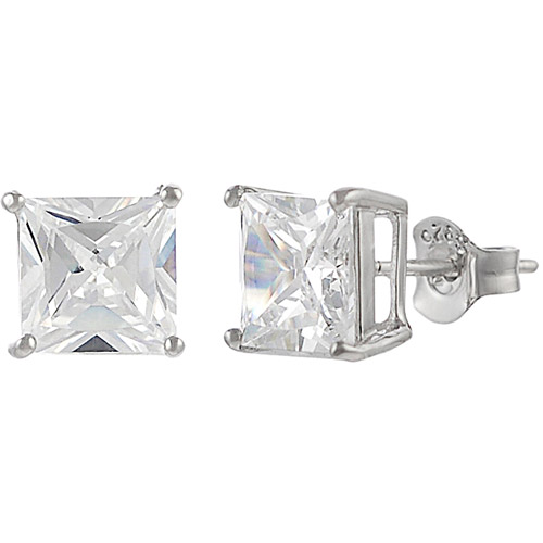 Brinley Co. Square CZ Sterling Silver Stud Earrings, 5mm