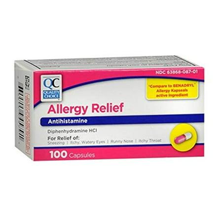 2 Pack Quality Choice Allergy Relief Antihistamine Medicine 100 Capsules -