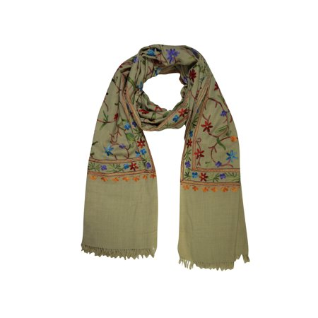 Womens Beaded Embroidered Shawl - Mogul Kashmiri Shawl Woolen Crewel Floral Embroidered Ethnic Indian Scarves Stole Wrap For Womens