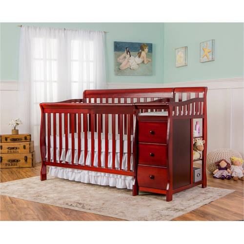 Dream on Me Brody 5-in-1 Convertible Fixed-Side Crib with Changer, Cherry