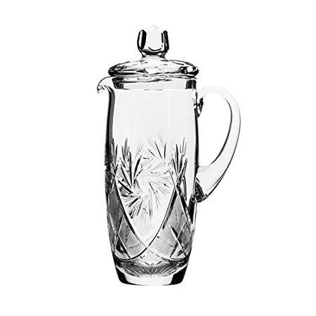 - Neman Glassworks, 34-Oz Russian Crystal Pitcher, Vintage Glass Beverage Carafe