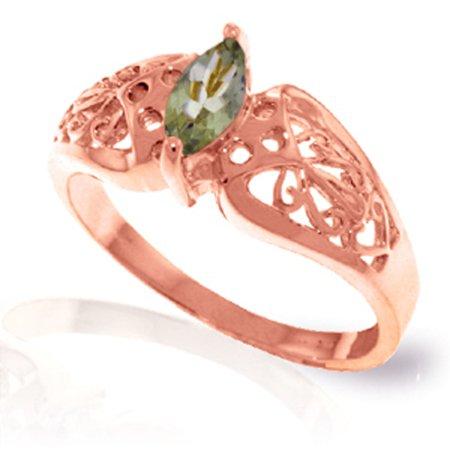 - ALARRI 0.2 Carat 14K Solid Rose Gold Filigree Ring Green Amethyst With Ring Size 6.5.