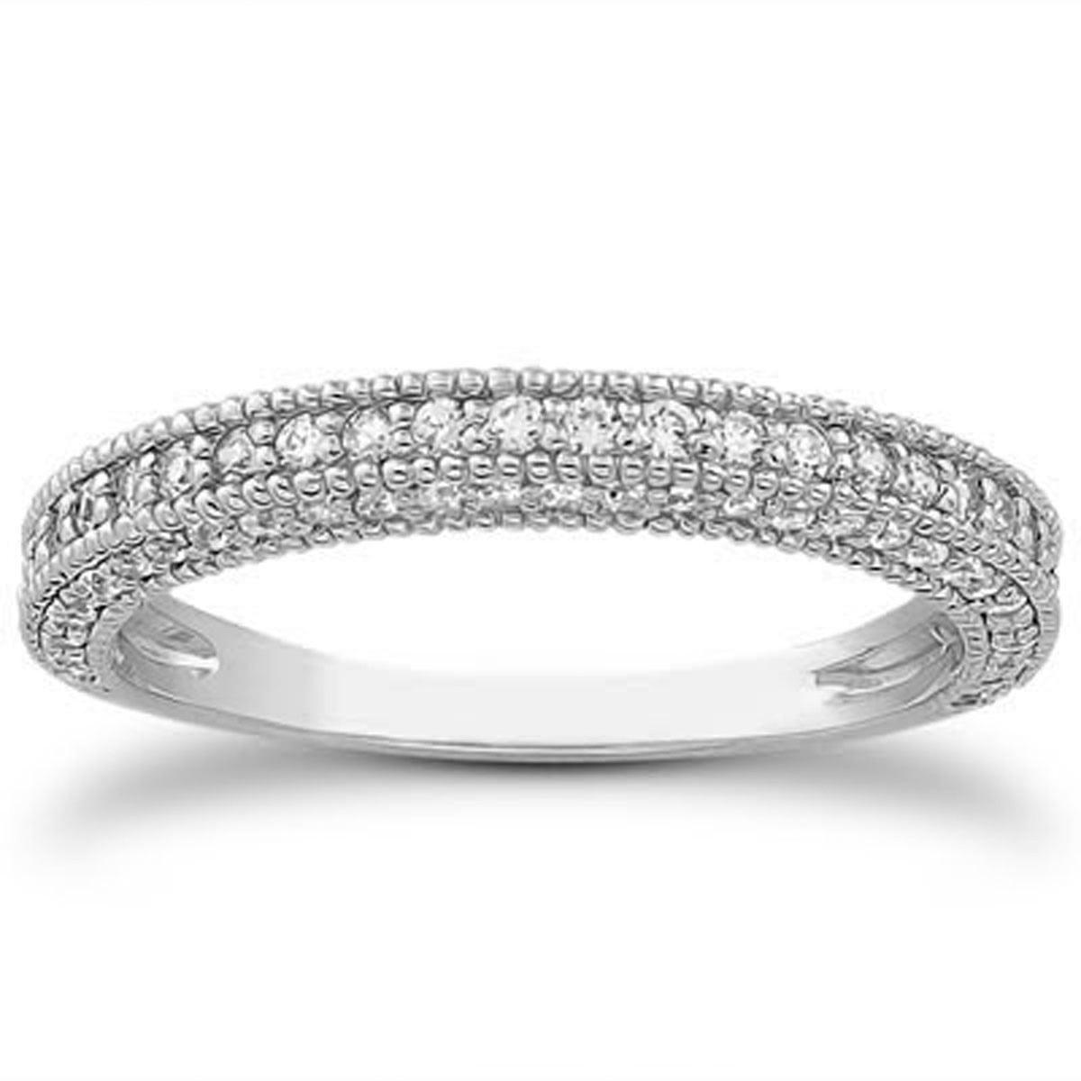 14K White Gold Fancy Pave Diamond Milgrain Textured Wedding Ring Band Size - 7