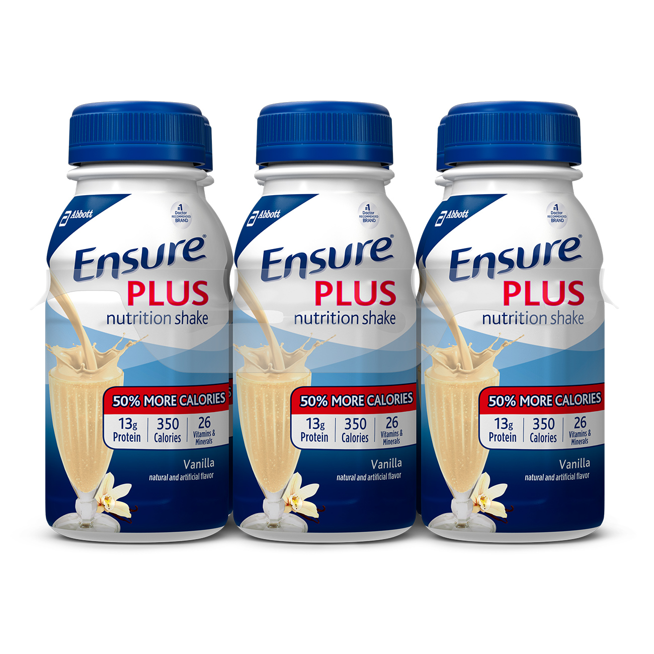 Ensure Plus Nutrition Shake with 13 grams of high-quality protein, Meal Replacement Shakes, Vanilla, 8 fl oz, 6 count