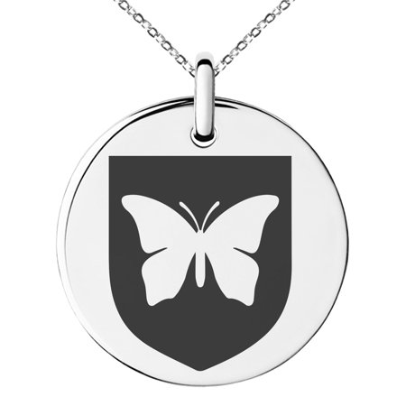 Stainless Steel Butterfly Free Spirit Coat of Arms Shield Engraved Small Medallion Circle Charm Pendant Necklace Butterflies Are Free Necklace