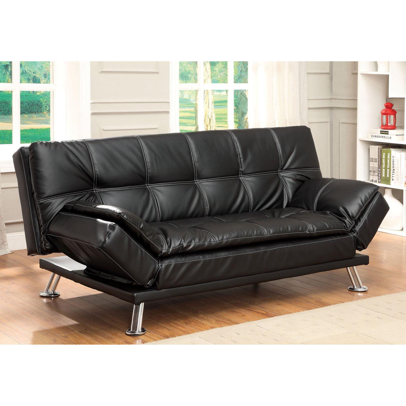 Furniture of America Benitz Convertible Futon Sofa   Black ...