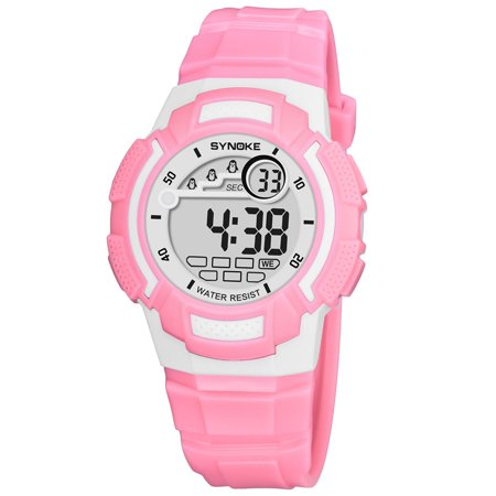 SYNOKE Sport Children Wrist Watches LED Digital Stopwatch Alarm Luminous Water Resistant Girl Boy Watch ()