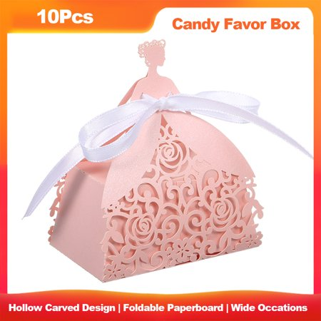 Halloween Themed Bridal Shower Favors (10Pcs Cut Favor Boxes Hollow Design Candy Box Gift With Ribbons for Garden Theme Wedding Birthday Party Bridal Shower Anniversary Favors Lightweight)