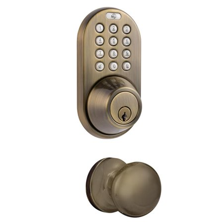 Keypad Entry Alarm - Keyless Entry Deadbolt and Door Knob Lock Combo Pack with Electronic Digital KeypaD Antique Brass