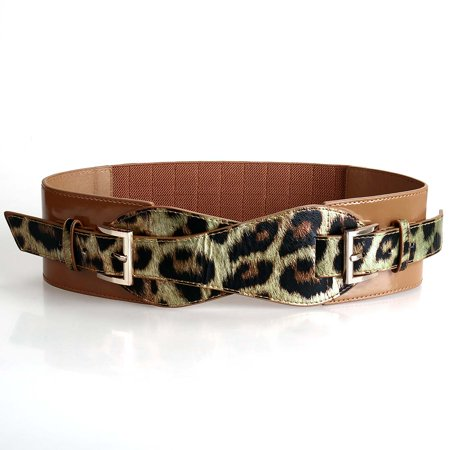 BMC Womens Faux Leather Double Leopard Pattern Strap Elastic Fashion Belt