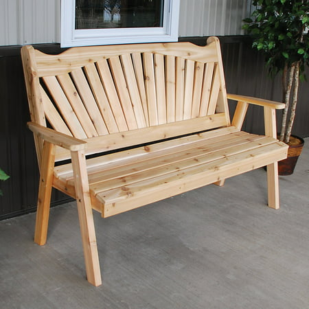 A & L Furniture Western Red Cedar Fanback Garden Bench Cedar Creek Cedar Bench