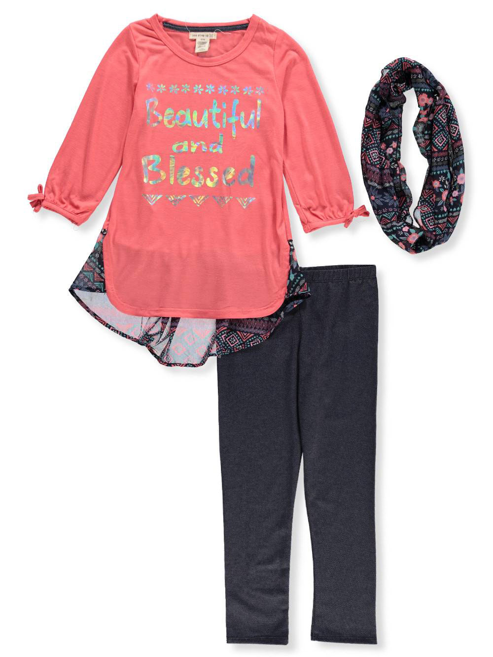 One Step Up Girls' 2-Piece Leggings Set Outfit with Scarf