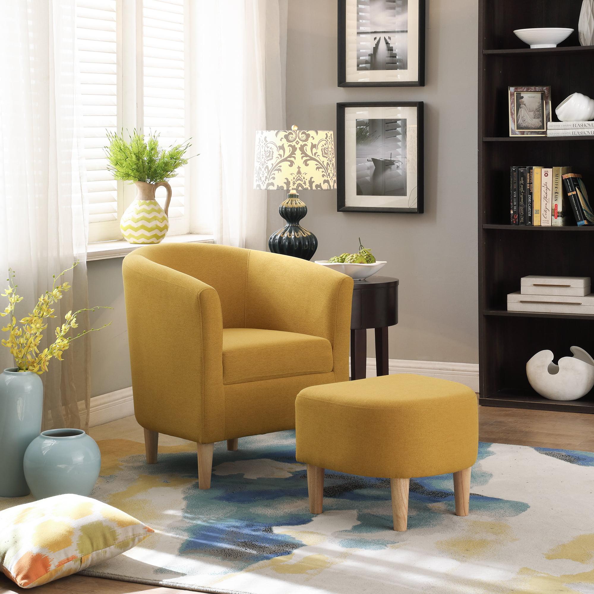 2020 Modern Accent ArmChair Living Room Fabric Single Sofa Wood Leg With Cushion