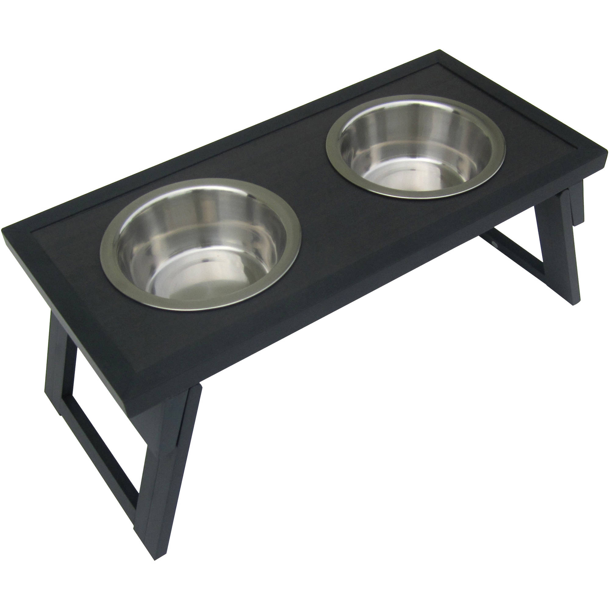 New Age Pet Habitat 'n Home HiLo Diner Raised Dog Bowl, Medium, Espresso