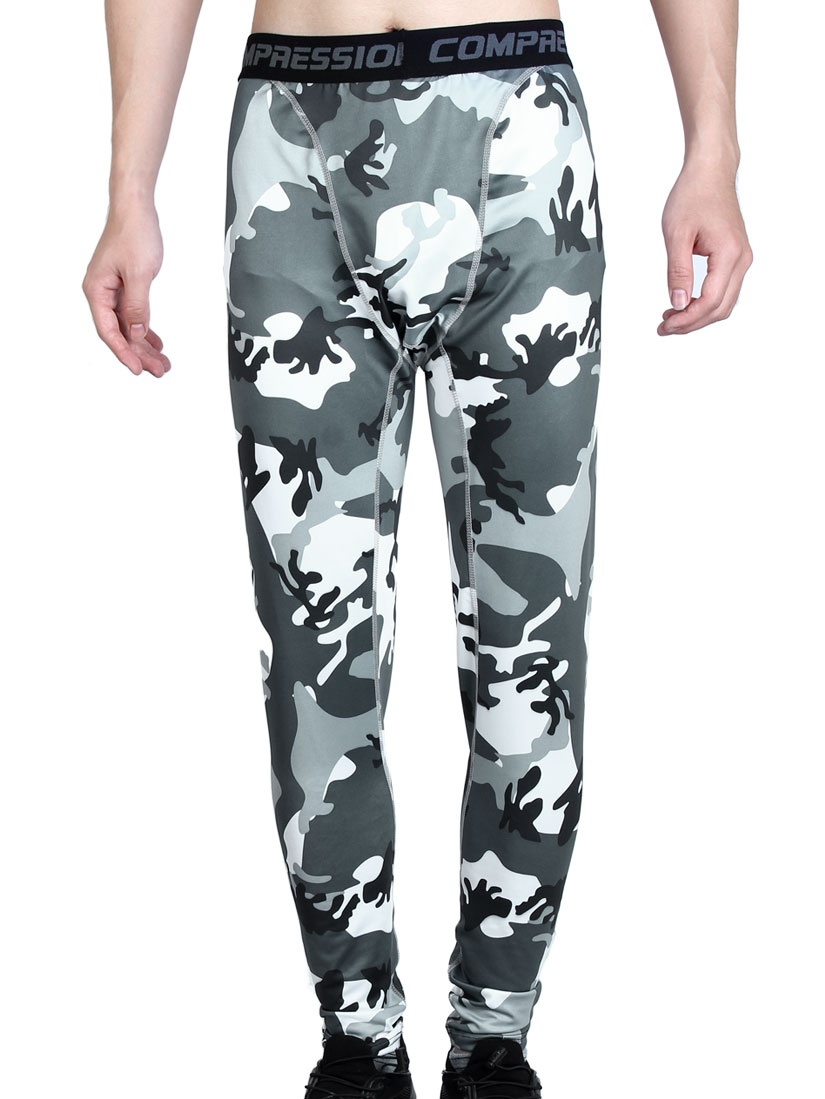 Men Polyester Fiber Compression Base Layer Pants Camouflage by Unique-Bargains