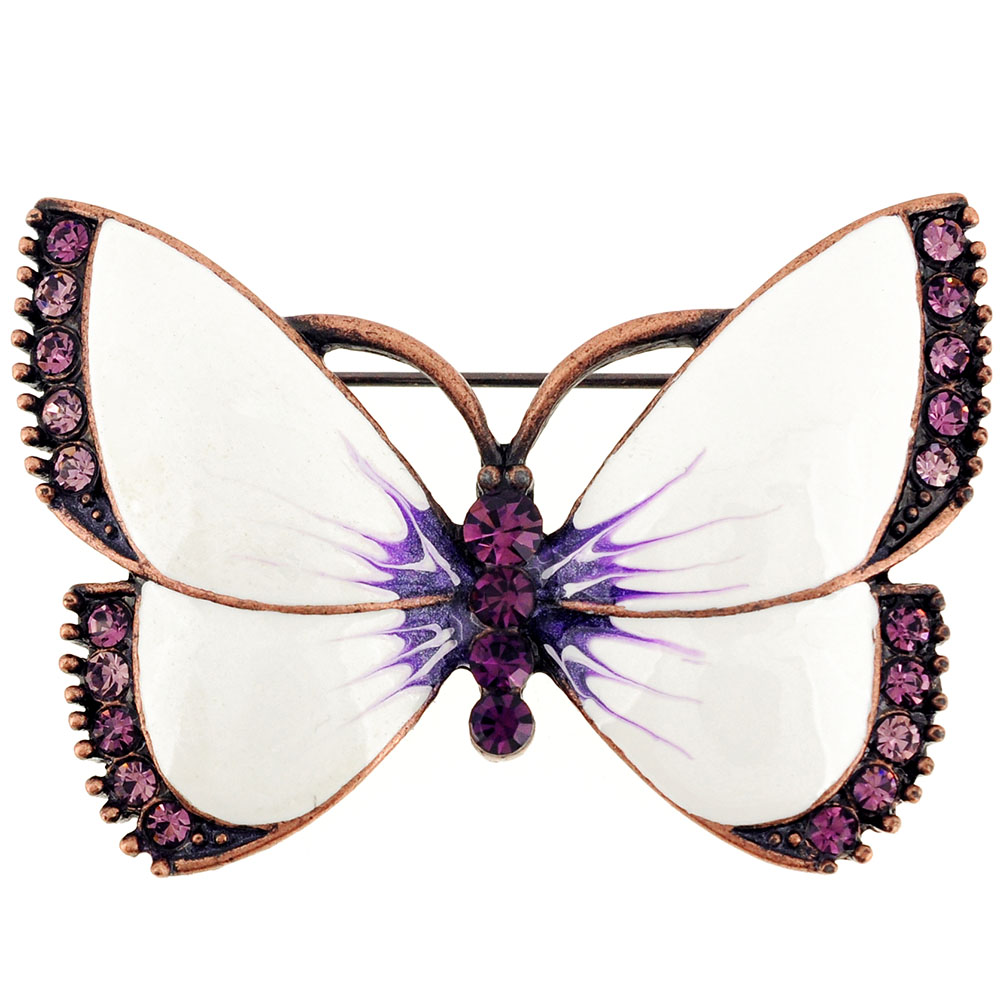 Vintage Style White Butterfly Amethyst Crystal Pin Brooch by