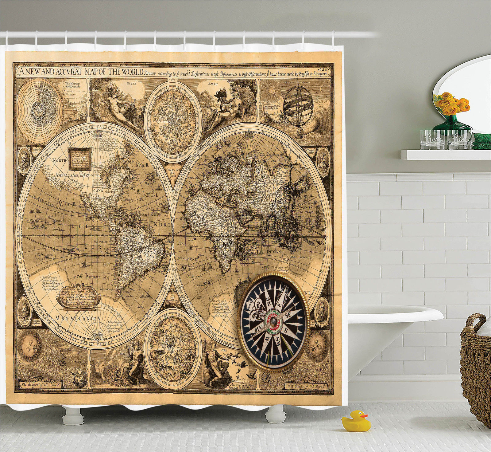Wanderlust Decor Old Map (1626) A New And Accvrat Map Of The World Historical Manuscript, Bathroom Accessories, 69W X 84L Inches Extra Long, By Ambesonne