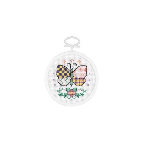 Janlynn 410970 Patchwork Butterfly Mini Counted Cross Stitch Kit-2. 5 inch Round 18 Count