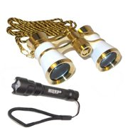 3x25 Opera Glasses Binocular White pearl with Gold Trim with Necklace Chain + Professional Compact Ultra Bright Flashligh