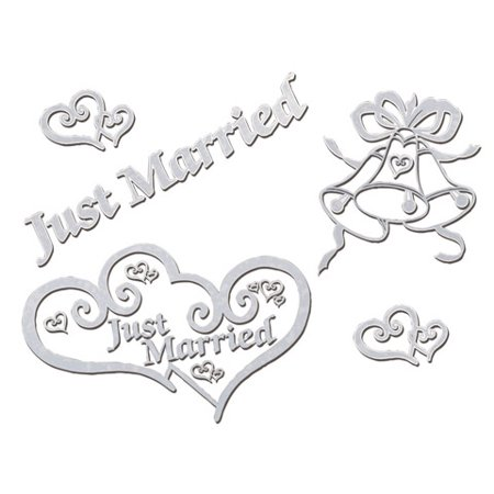 Victoria Lynn Just Married Window Clings - White - 8 x 13.25 inches