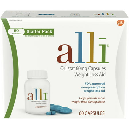 Alli Orlistat 60mg Weight Loss Aid Starter Kit Capsules - 60ct