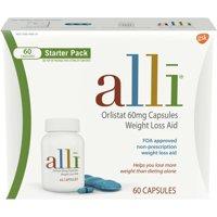 alli Diet Weight Loss Pills, Orlistat 60mg Starter Pack, 60 Ct