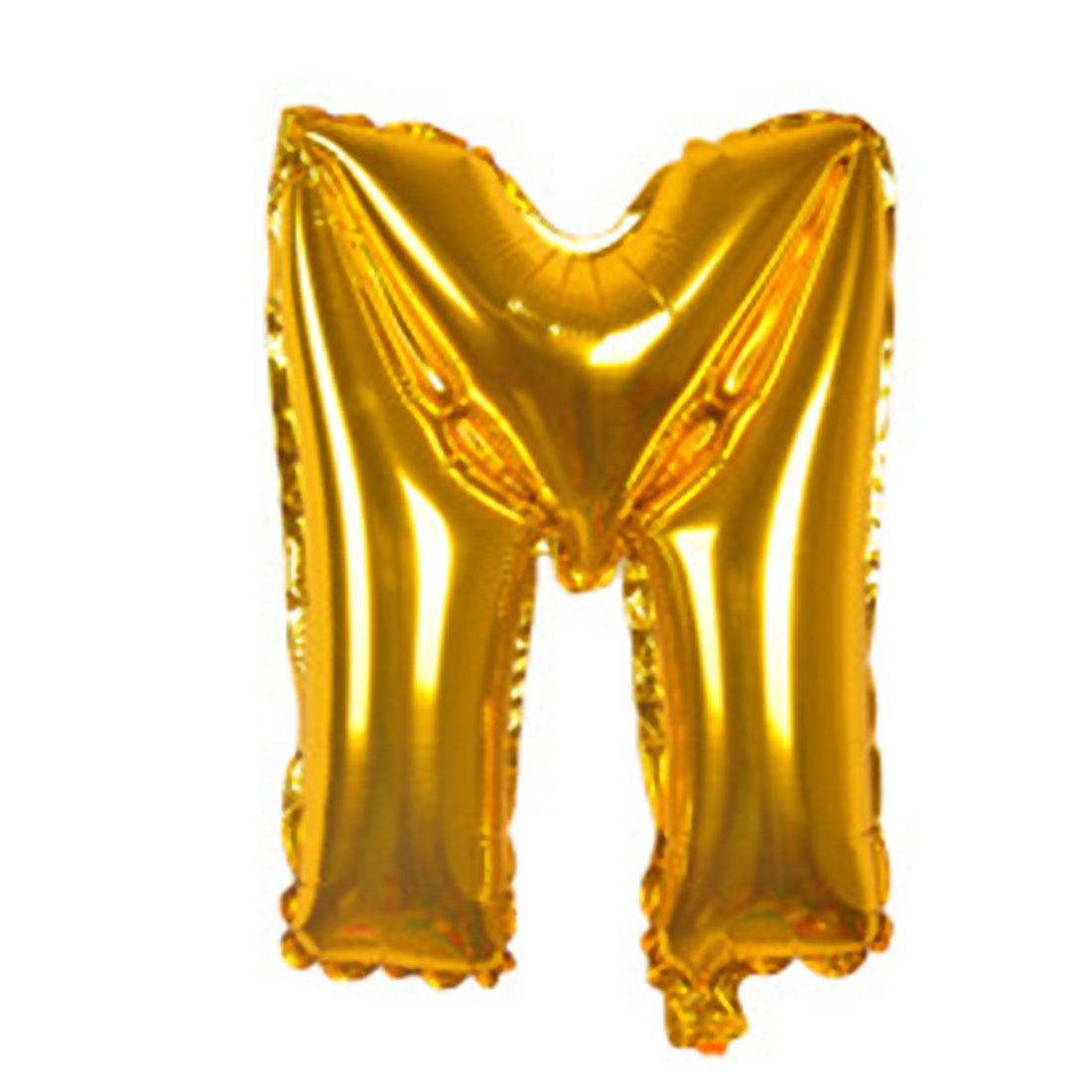 "Unique Bargains 40"" Gold Tone Foil Letter M Balloon Helium Birthday Wedding Festival Decor"