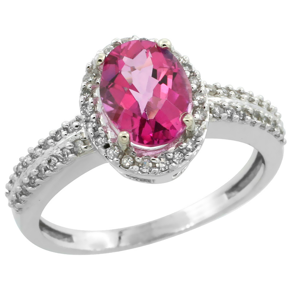 14K White Gold Natural Pink Sapphire Ring Oval 8x6mm Diamond Halo, size 5 by Gabriella Gold
