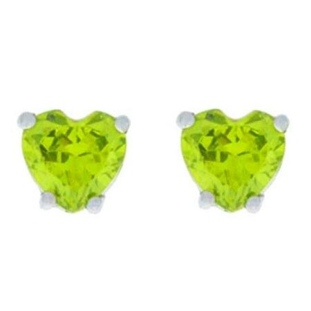 Sae Stud (2 Ct Peridot Heart Stud Earrings .925 Sterling Silver)