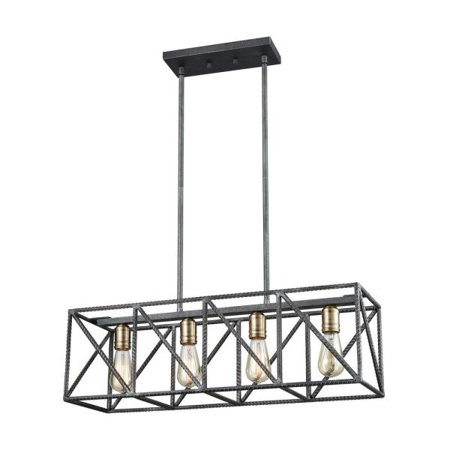 Elk Lighting Crossbar - Four Light Billiard/Island, Silverdust Iron/Satin Brass