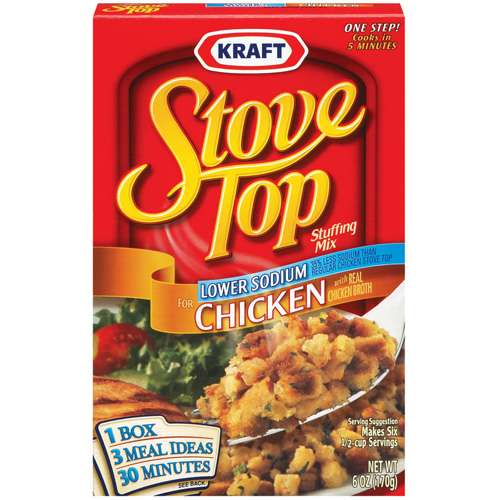 Kraft Stove Top Stuffing Mix Chicken Lower Sodium, 6 oz (3 Packs)