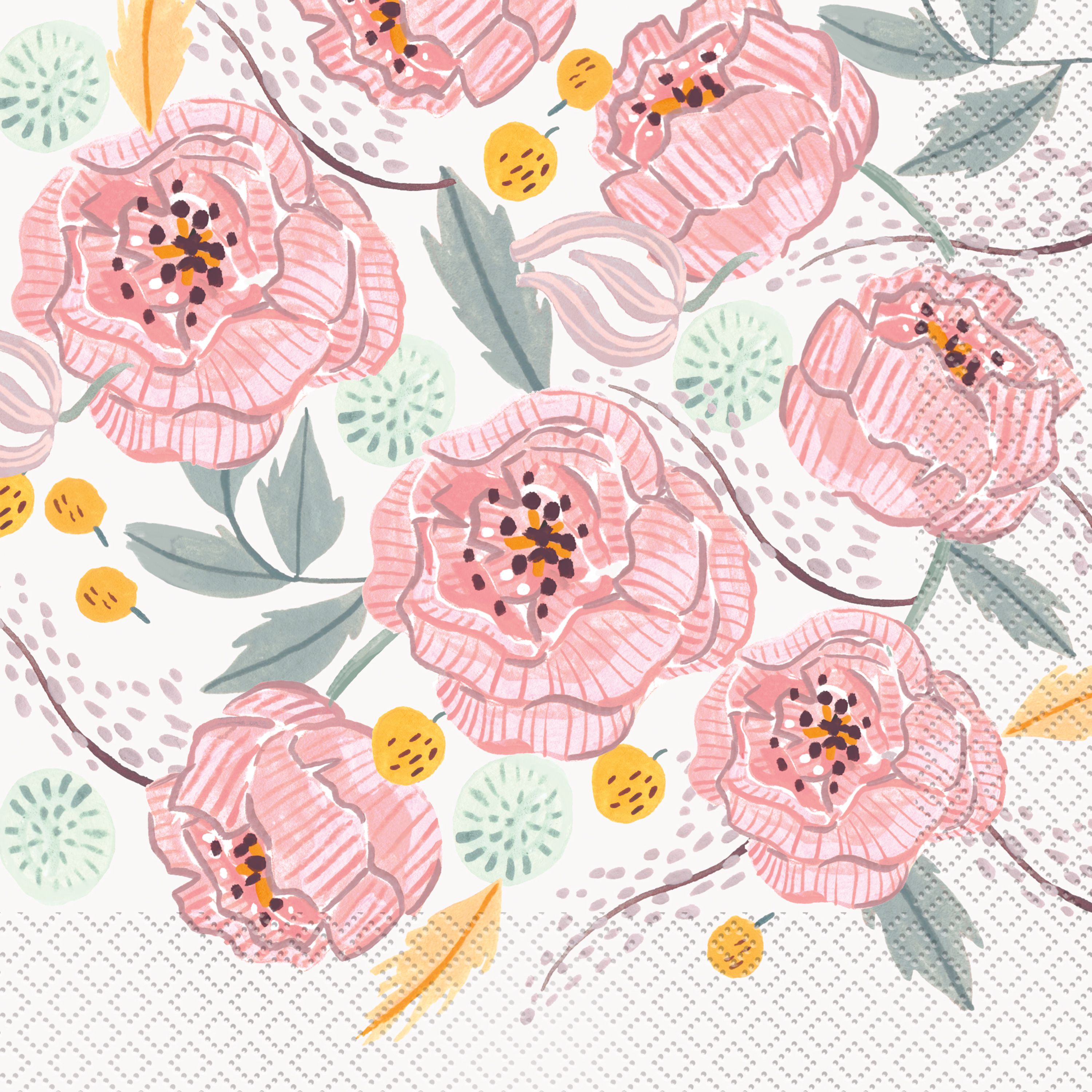 Soft Pink Painted Floral Paper Luncheon Napkins, 6.5in, 16ct