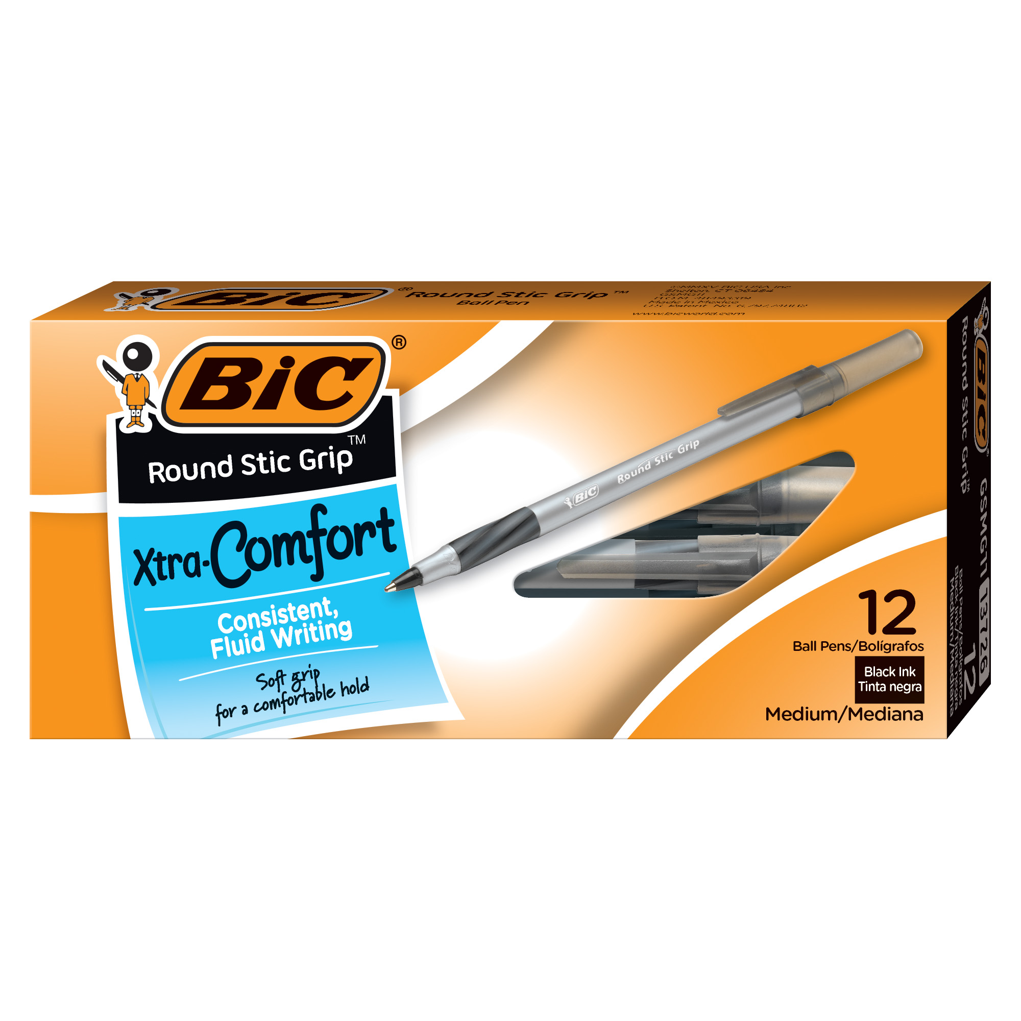 BIC Round Stic Grip Xtra Comfort Ball Pen, Medium Point (1.2 mm), Black, 24 Count