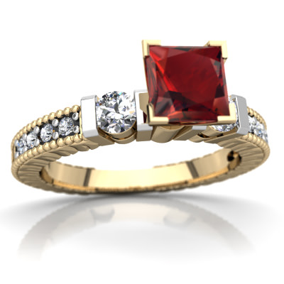 Garnet Milgrain Art Deco Ring in 14K Yellow Gold by
