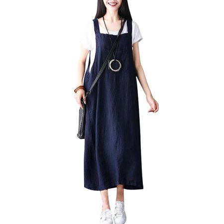 New Fashion Women Strappy Sleeveless Casual Loose Long Dress Baggy