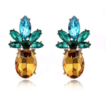 Colorful Pineapple Cubic Zirconia Drop Earrings Ginger Lyne Collection