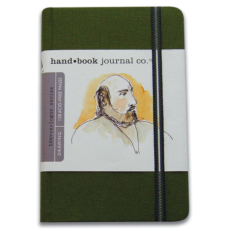 Global Art Handbook Travelogue Artist Journal, Large Portrait, 5.5in x 8.25in, Cadmium Green