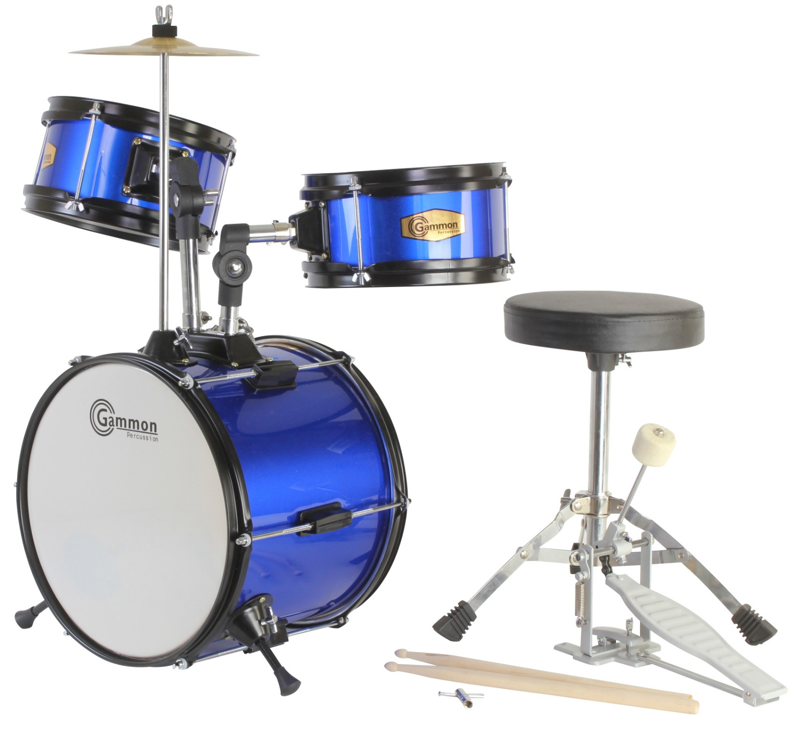 Gammon Drum Set Blue Junior Kit With Cymbal Sticks Hardware And Stool