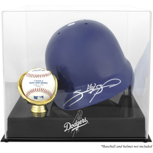 Los Angeles Dodgers Fanatics Authentic Batting Helmet with Ball Holder Logo Display Case - No Size