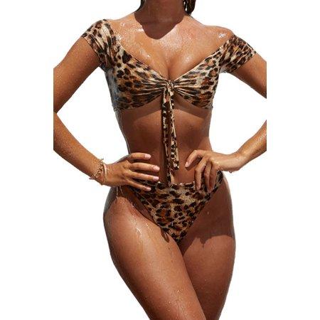 Juniors' Swimsuit Celebrity Leopard Print Bandage Two Piece Padded Bikini (multicolor, small) (Small Padded Bikini)