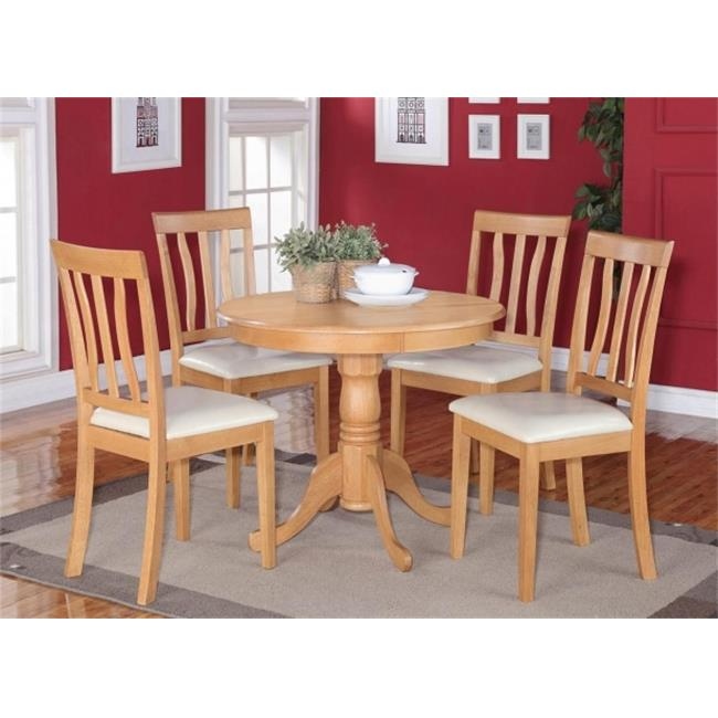 East West Furniture ANTI5-OAK-LC 5 -Piece Antique Round Kitchen 36 in. Table and 4 Chairs with Faux Leather seat