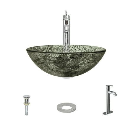 MR Direct 624 Vessel Sink Ensemble with a Chrome finish 718 faucet pop