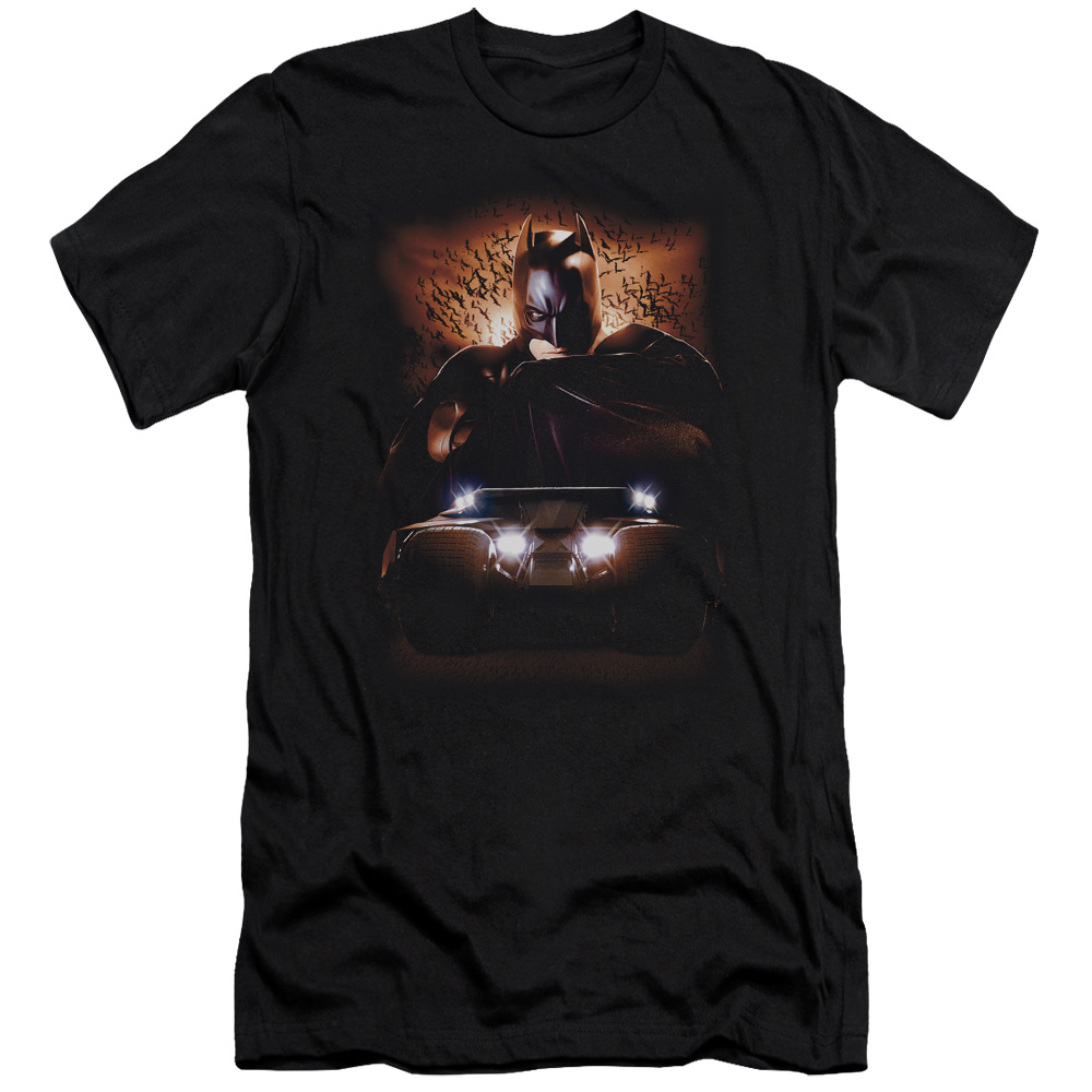 Batman Begins Movie Batman with Bat Tumbler Adult Slim T-Shirt