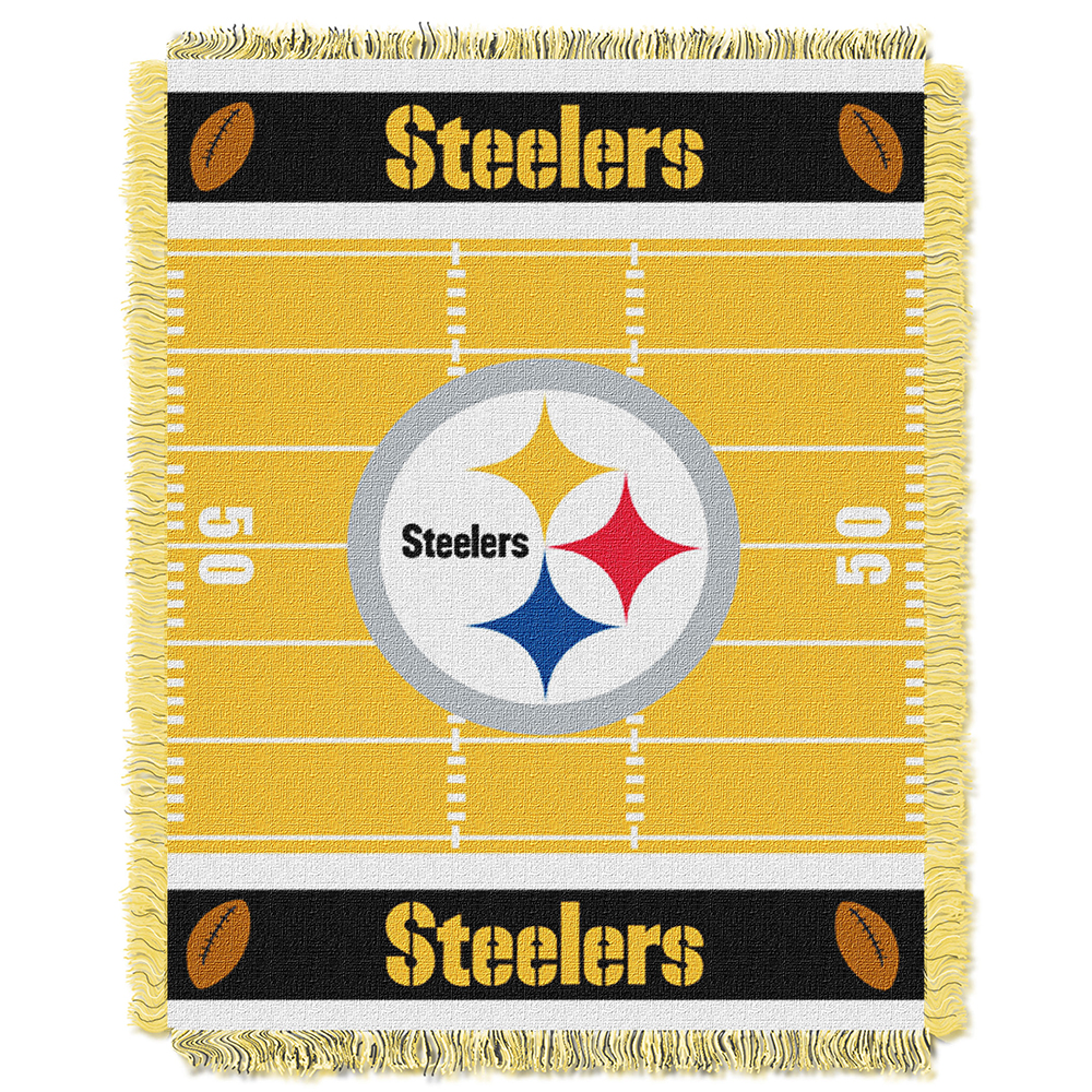 "Northwest NFL Steelers Field Baby Woven Throw TEAM COLORS 36"" X 46"""