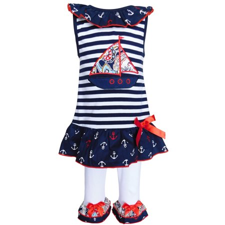 AnnLoren Boutique Girls Nautical Sailor Tunic & Capris Red White Blue
