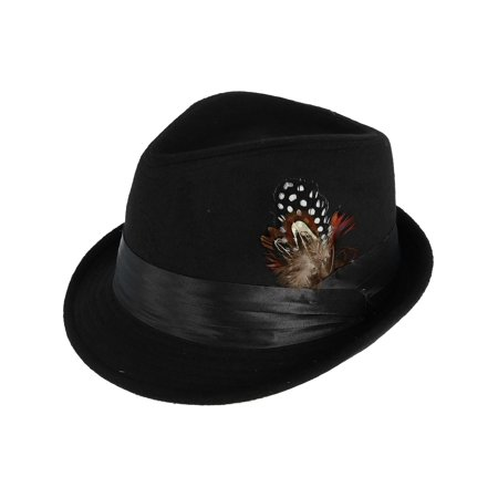 Men's Dressy Faux Felt Fedora with Removable Feather](Boys Black Fedora)
