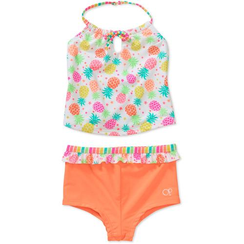 OP Baby Girls' 2-Piece Pineapple Tankini Boyshort Swimsuit