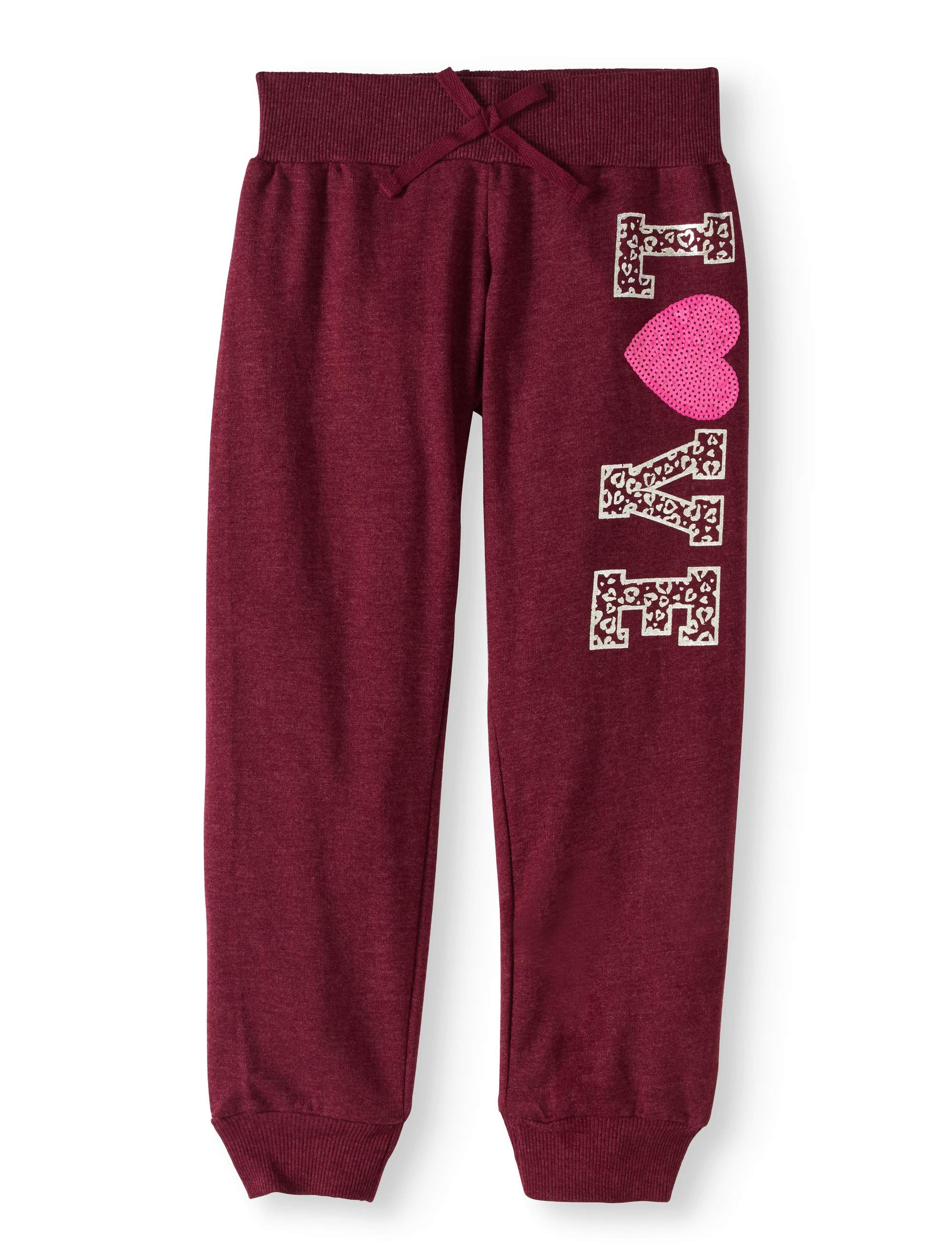 "Girls' ""Get Your Jogger On"" Slub French Terry Jogger Pants With Shiny Applique"