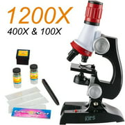 Magicfly 100X, 400x, and 1200x Magnification Science LED Microscope kit for Kids,Beginner Microscope kit,Educational Toys&Gifts