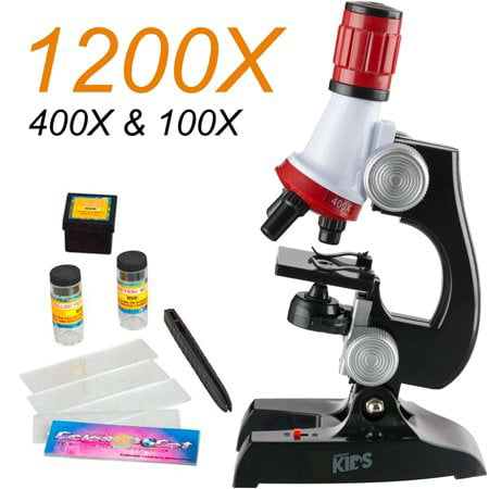 Magicfly LED 1200x Magnification Kids Microscope Kit, Beginner Science Microscope Kit for Kids, Fun Educational Toys or Gifts - Kids Microscope